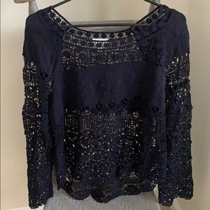 Anthropologie Deletta Blue Lace Blouse